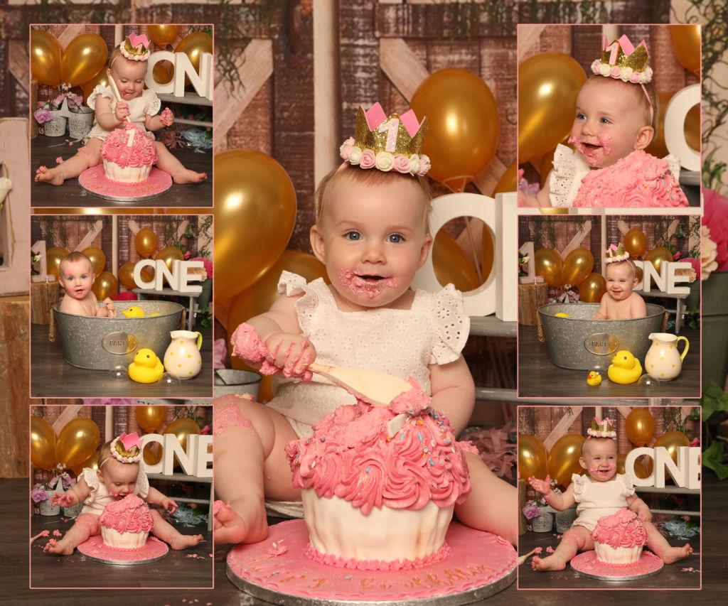 Cake smash Bath splash studio 1st birthday AL photography newry
