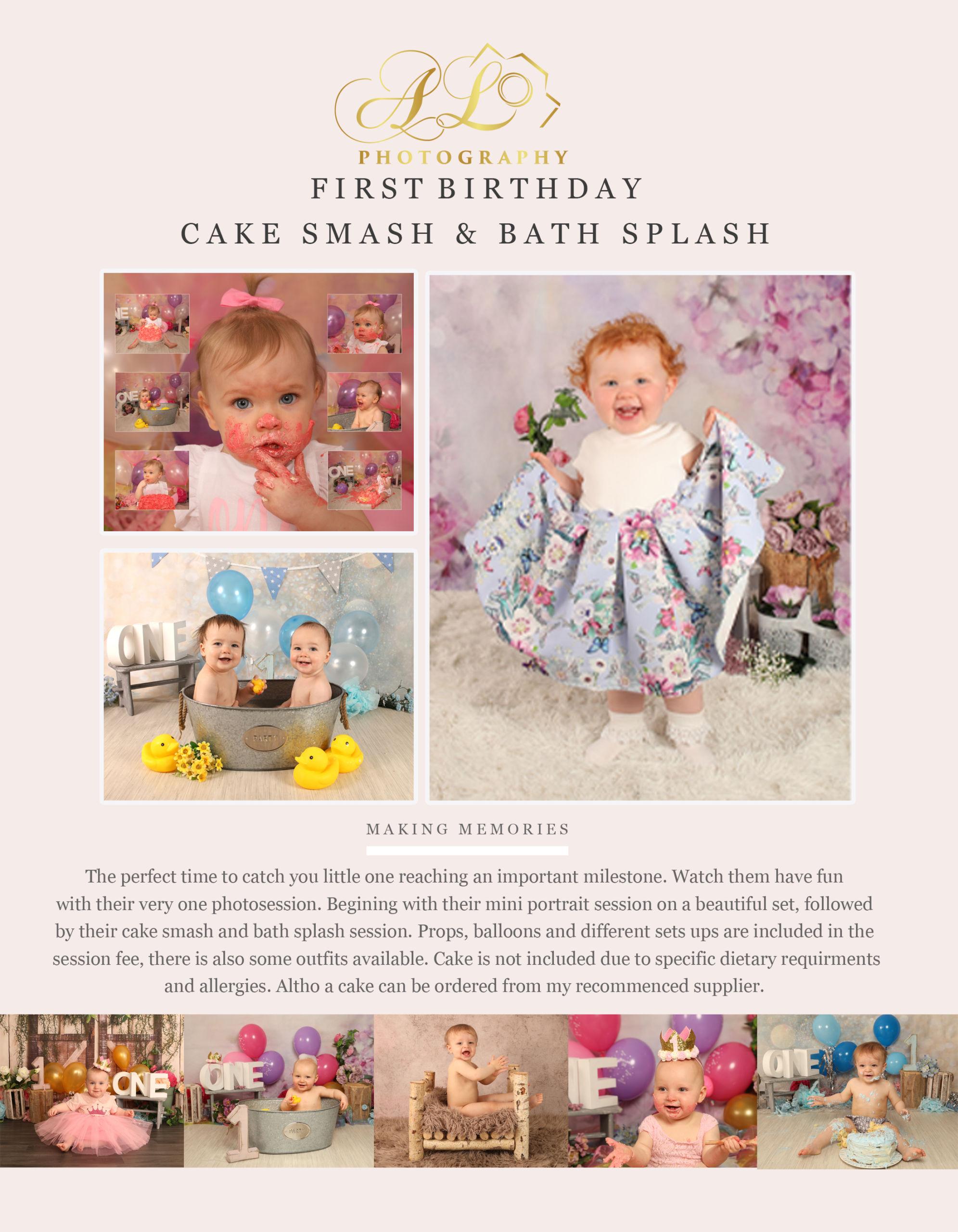 cake smash & bath splash photography pricing
